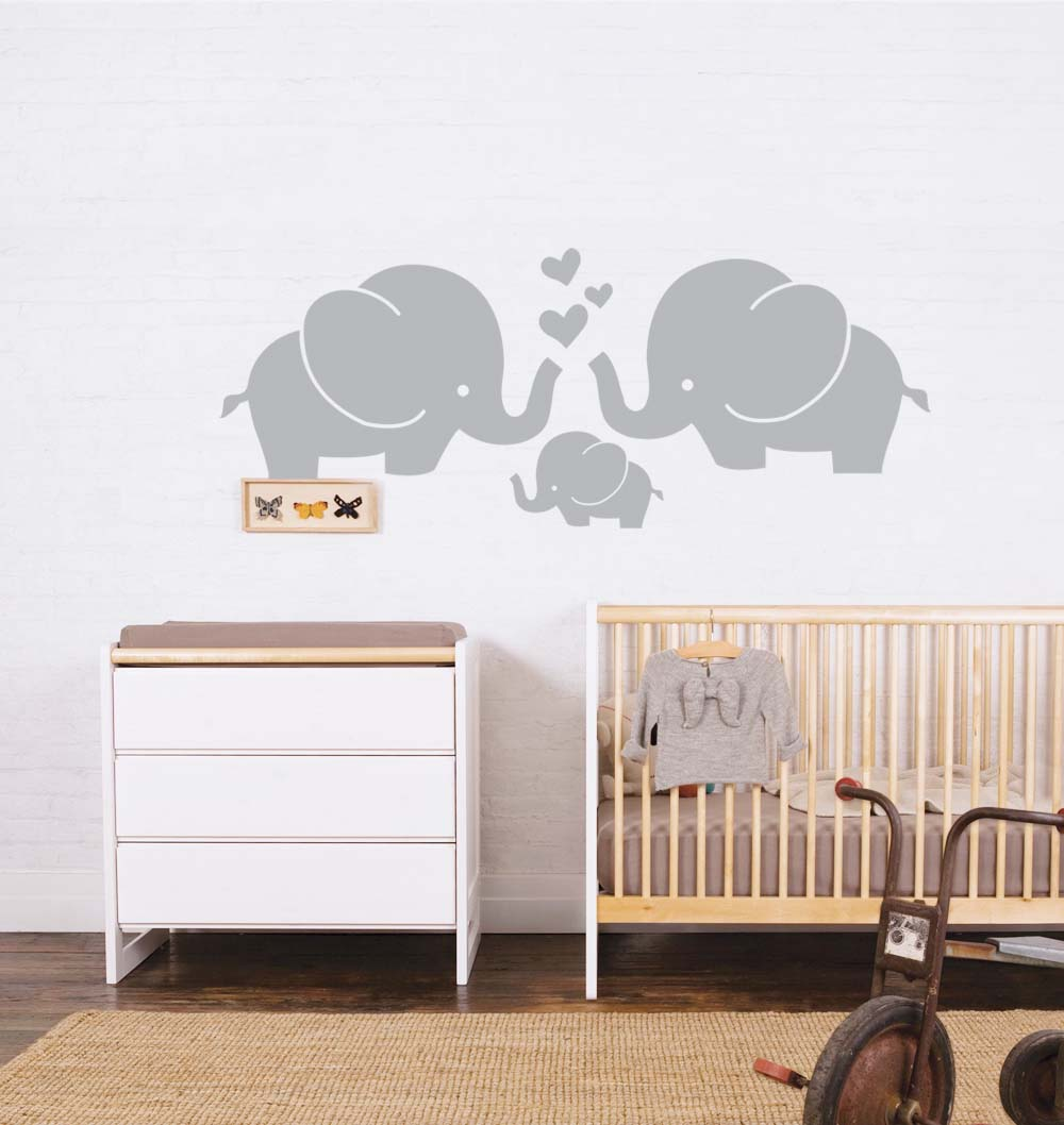 anber cute elephant family with hearts wall decals baby nursery anber cute elephant family with hearts wall decals baby nursery decor kids room wall stickers 30 w x11 8 h grey kids and nursery nursery wall sticker