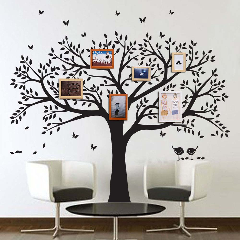 ANBER Family Tree Wall Decals Butterflies And Birds Wall Decals Vinyl Wall  Decals Photo Frame Tree Stickers Living Room Home Decor Wall Sticker Home  Decor ...