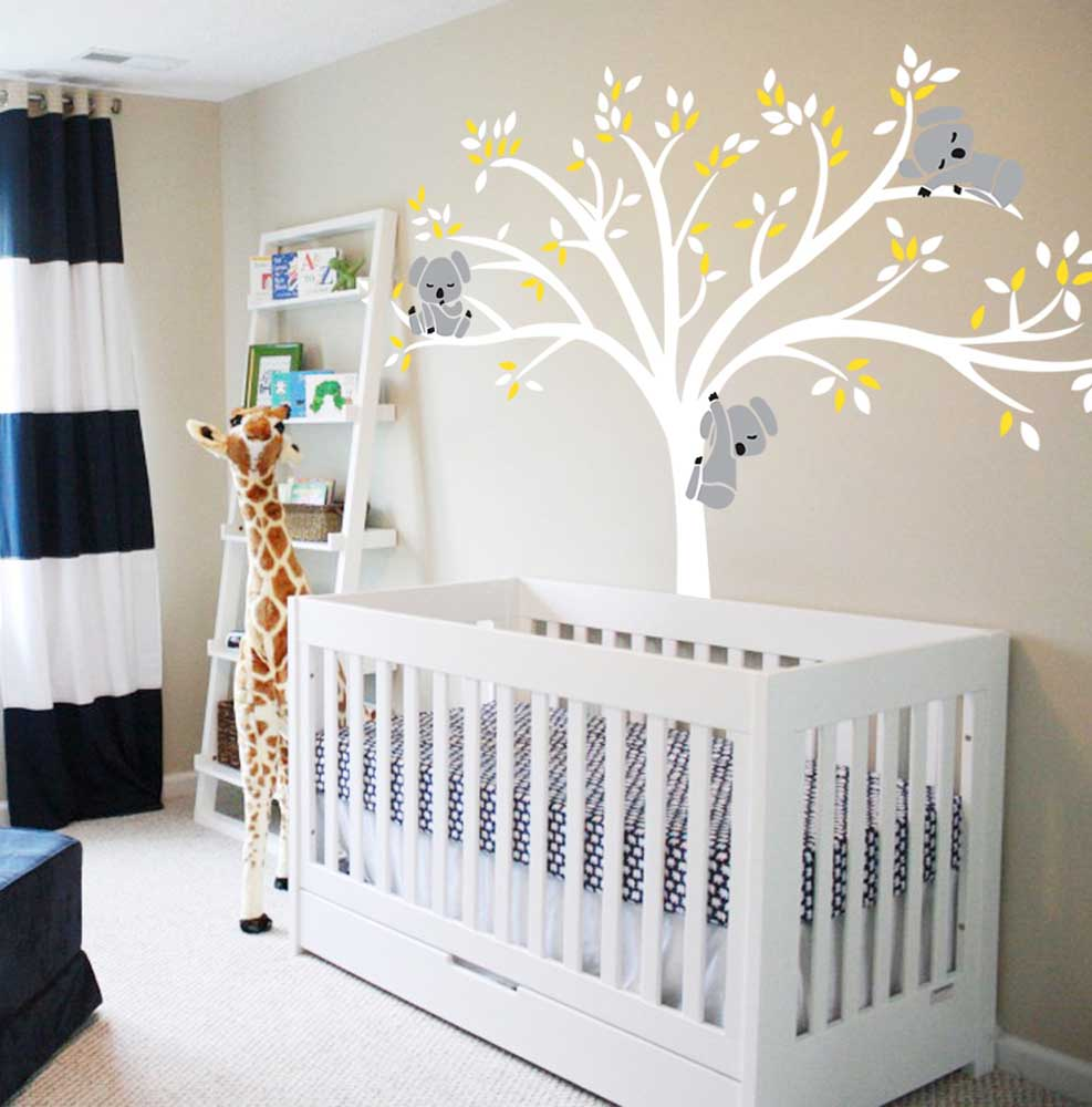 Large Koala Tree Wall Decals For Baby Nursery Vinyl Wall Decor Stickers,  86.5u0027u0027wx77u0027u0027h